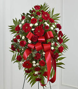 Red funeral flowers