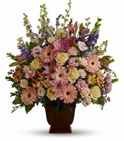 Mixed colored funeral flowers